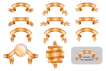 Ribbons and banners set with copy space. Solemn heraldic golden tapes. Richly greeting design. Vector isolated realistic illustrations. Version Golden C