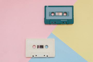top view tape cassette with colorful pastel color background