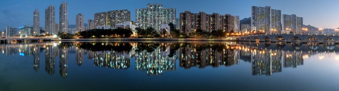 Shatin City at Night Reflection, HK.
