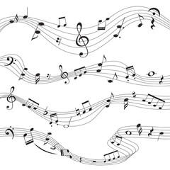 Music notes, musical design element set, isolated, vector illustration.