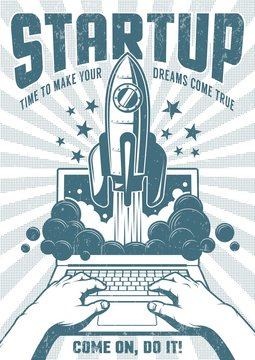 Retro poster with a rocket flying out of a laptop. Startup monochrome concept. Grunge worn texture on separate layer.