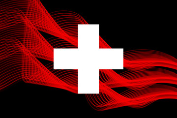 Switzerland national flag from neon glowing intersecting lines on black isolated background