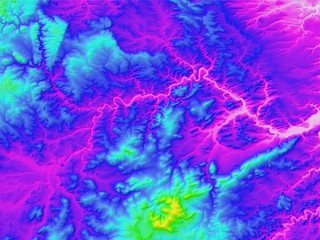 Digital Elevation Model (DEM), Contours Purple to yellow)