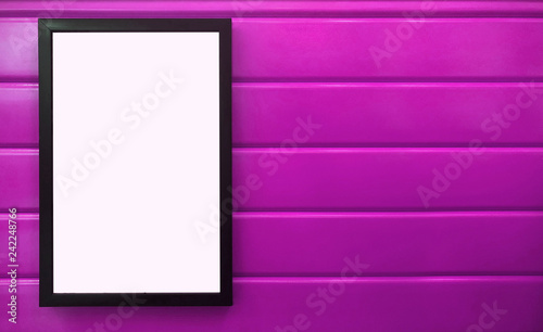 Beautiful Notification Borad Hanging On The Colorful Metal Wall Black Frame Placing Bright Pink Square Pan Background