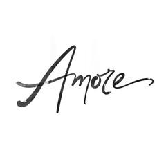 Love calligraphy inscription. Amore lettering. Modern brush calligraphy.