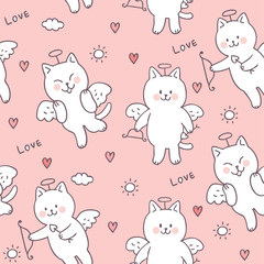 Cartoon cute Valentines day cupid cat and love seamless pattern vector.