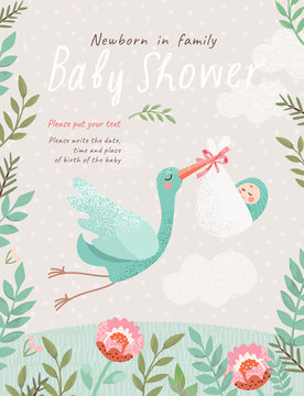Baby Shower Invitation template with cute illustration of a stork with a newborn in a flower frame, vector card for congratulations on a newborn