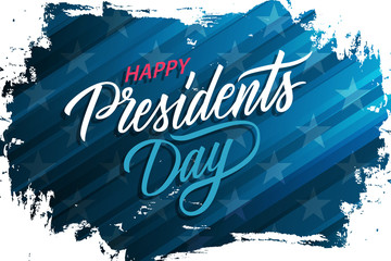 USA Presidents Day celebrate banner with brush stroke background and hand lettering text Happy Presidents Day. United States national holiday vector illustration.