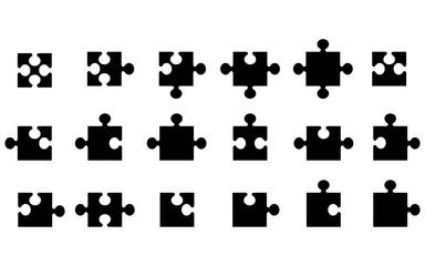black jigsaw puzzle shapes isolated on white,vector illustration