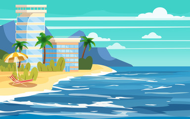 Tropical island, building hotels, vacation, travel, relax, seascape, ocean, beach chair, umbrella, template, banner, for advertising, vector, illustration, isolated, cartoon style