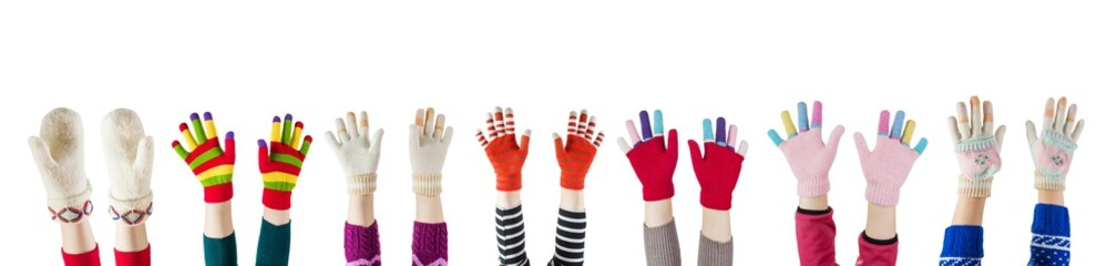a winter mittens and gloves isolated on white background