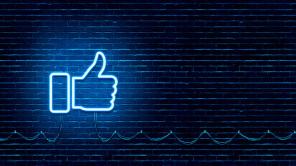 Neon Glowing Like (thumb) Button for Social Media on Brick Wall. Neon Facebook like icon illustration.
