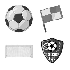 Vector design of soccer and gear icon. Collection of soccer and tournament stock vector illustration.