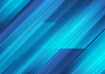 Bright blue technology stripes abstract background
