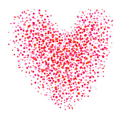 Abstract heart with confetti on isolated white. Holiday background from random geometric elements. Pattern for banners, posters and textiles. Greeting cards. Doodle for design and business