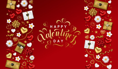 Happy Valentines day background with lettering inscription decorated gift box serpentine gold hearts stars and flowers for greeting card poster. Vector illustration.