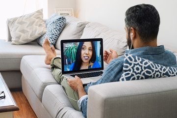 Mature couple making video call