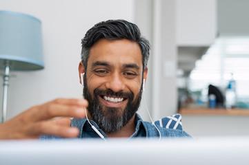Man doing video conversation