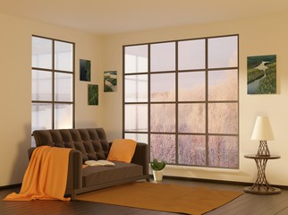 Home interior with sofa and two windows. Winter view. 3D rendering.