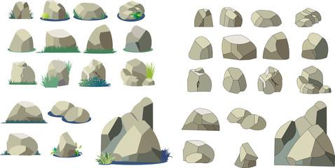 岩と石のイラストパーツ