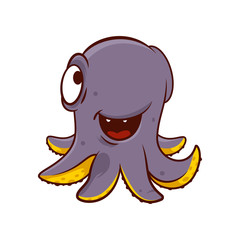 Adorable purple octopus with happy face expression. Funny marine creature with tentacles. Cartoon vector design