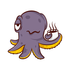 Purple humanized octopus holding cup of hot coffee. Sea creature with tentacles. Cartoon character. Vector icon