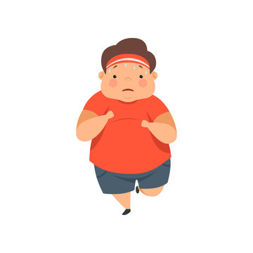 Overweight sweaty boy running, cute chubby child cartoon character vector Illustration on a white background