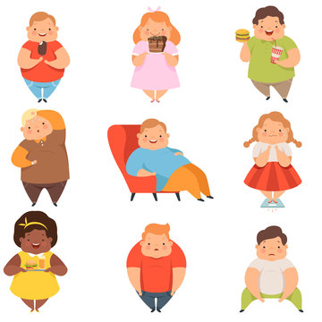 Overweight boys and girls set, cute chubby children cartoon characters eating fast food vector Illustration on a white background