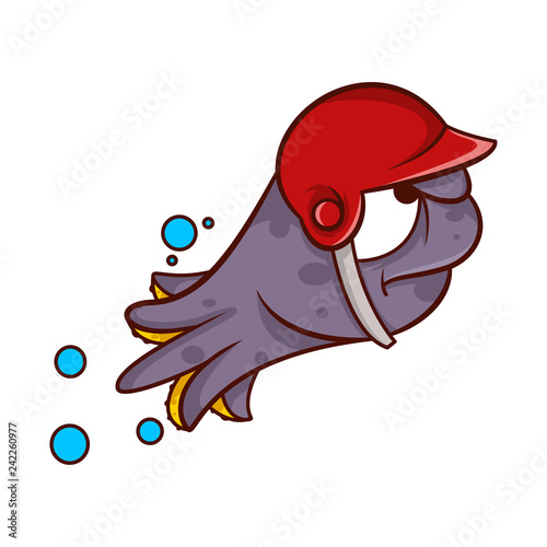 Purple octopus in swimming action with red baseball helmet on head. Sea  animal with angry face. Cartoon vector icon a6f5e413ab8f