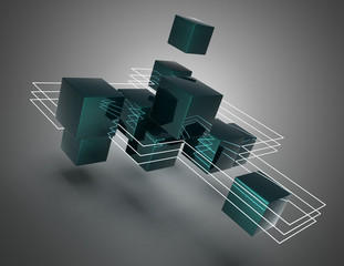 3d abstract cubes background.3d illustration