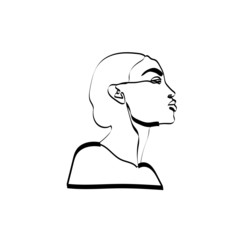 Abstract sketch, single line, minimalism. Portrait. Style, vintage. Graphics. Vector hand drawn portrait of women. One line drawing