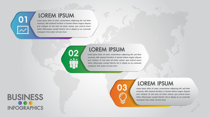 Infographics modern template for business with 3 steps, icons for 3 options.Can be used for workflow layout, diagram, website, corporate report.Vector 3d element.