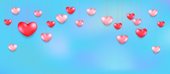 Hanging hearts. Valentines day greeting card design in 3d style on sky background. Isolated objects for celebration decoration design.