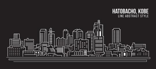 Cityscape Building Line art Vector Illustration design - Hatobacho, kobe