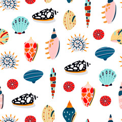 Hand drawn various seashells. Colored vector seamless pattern