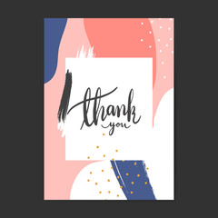 Colorful Memphis design thank you card vector