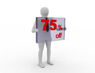 Seasonal sales 75 pecent off for shopping discount