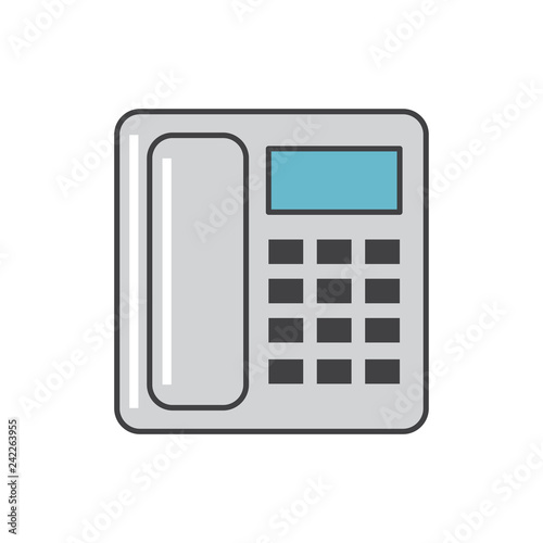 Office phone icon grey and blue on white background for