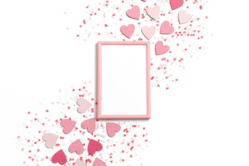 Photo frame mock up with colorful hearts on a white background