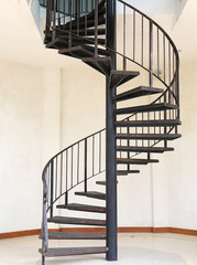Metal iron circle stair.