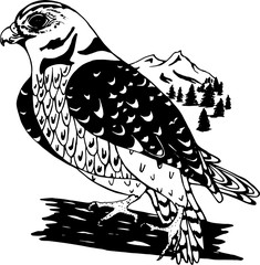 Illustration of a psychedelic falcon in profile with a background of mountains and trees.