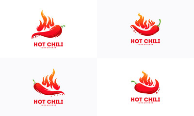 Set of Red Hot Chili logo designs concept vector, Spicy Pepper logo designs template