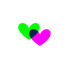 Hearts icon green and purple on white