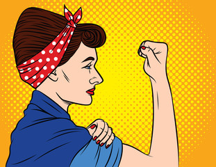 Colorful vector poster in the style of pop art about women's rights. Female feminism, female power. A girl with a bandage on her head keeps showing fist. Young woman shows protest