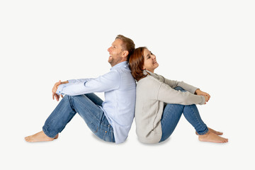 Young attractive smiling couple thinking of future or past together isolated on white and copy space