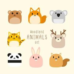 Vector set of cute chubby Woodland animals.