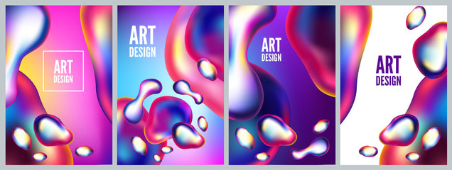 Abstract metal elements with an iridescent color effect backlit. Set backgrounds and posters of liquid bubble. Modern 3d vector illustration. Template for design, flyer or presentation. Fototapete