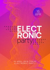 Trance event. Dynamic gradient shape and line. Curvy discotheque cover design. Neon trance event flyer. Techno dj party. Electro dance music. Electronic sound. Club fest poster.