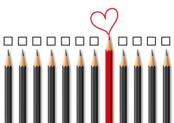 Concept de l'expression d'un sentiment amoureux dans un environnement rigoureux et hostile avec des crayons noirs et des carrés face à un crayon rouge dessinant un cœur.