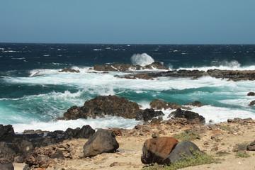 Paesaggio marino blu e turchese con rocce, Aruba, mar dei Caraibi